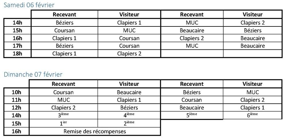 Planning TOURNOI Mireille LAMOUCHE